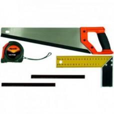 Набор столярный, 5 предметов (ножовка, рулетка, угольник, карандаш-2шт.)